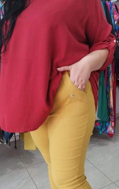 Spodnie z bengaliny Cevlar B09 kolor musztarda miodowa - Big Sister