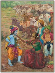 Mother Yashoda Garlands Krishna She gave Him a thorough looking over and adjusted His clothes and the other things He had on. Hare Krishna, Señor Krishna, Krishna Lila, Little Krishna, Radha Krishna Pictures, Lord Krishna Images, Radha Krishna Photo, Shiva, Indian Art Gallery