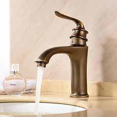 Deck Mounted Single Handle One Hole in Antique Brass Bathroom Sink Faucet 4906268 2016 – $91.36