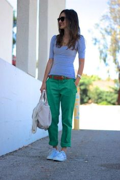 green boyfriend jeans: an alternative to wearing shorts this spring