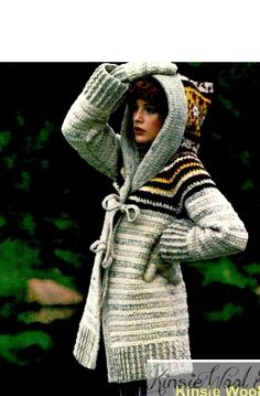 INSTANT DOWNLOAD PATTERN Womens / Ladies Crochet Hooded Sweater-Coat Jacket & Mittens - PDF Pattern Vintage Womens / Ladies Hippie Crochet