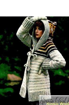 INSTANT DOWNLOAD PATTERN Womens / Ladies Crochet Hooded Sweater-Coat Jacket & Mittens - PDF Pattern Vintage Womens / Ladies Hippie Crochet