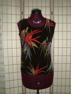 Choices Sz S Women's Black & Multicolor Leaf Pattern Liquid Knit Tank Top #Choices #TankCami