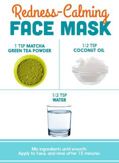 Skin Care Tips For Acne (avoid if you have overly oily skin) Matcha Powder + Coconut Oil + Water = a DIY face mask that calms redness -Read More – Face Mask For Redness, Acne Face Mask, Face Skin, Reduce Face Redness, Anti Aging Creme, Diy Masque, Coconut Oil For Acne, Matcha Green Tea Powder, Homemade Face Masks