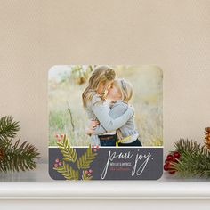 Celebrate the season with this 'Joyful Holly' #Holiday Photo Cards in a beautiful coral pink