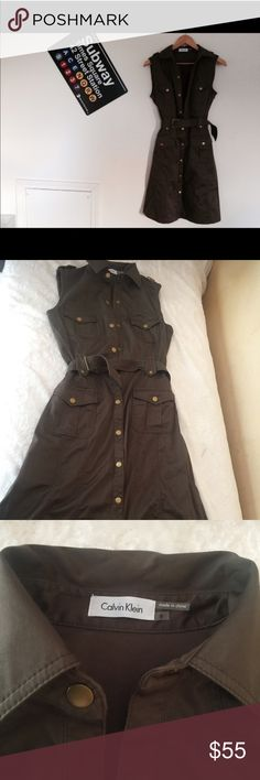 Calvin Klein green military style dress size 6 Brought from another posher but it doesn't fit my chest, it's in excellent condition Calvin Klein Dresses Mini
