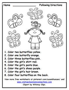 free following directions worksheet with color words provides a fun activity for students other free - Learning Colors Worksheets For Preschoolers