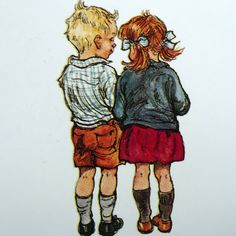 Darling Picture of a boy & girl. By Shirley Hughes.