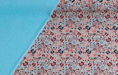 Stoffpakete - 909 Stoffpaket Blüten Türkis Rosa Beige 1,25m - ein Designerstück von pretty-child bei DaWanda