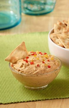 Turn today's trendiest ingredient into a flavorful dip with this Creamy Roasted Red Pepper Dip! Served with Town House Sea Salt Pita Crackers, this dip is an easy snack to serve friends on movie night.
