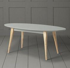 Modern White Wood Freestanding Miami Coffee Table Retro Vintage Home ...