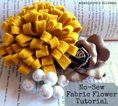 No Sew Fabric Flower Tutorial | http://www.momnivores-dilemma.com/2013/01/no-sew-fabric-marigold-flower-tutorial.html