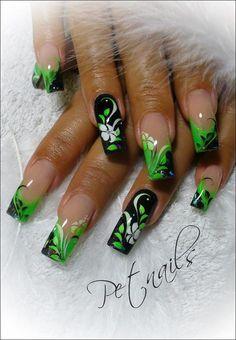 Beautiful Photo Nail Art: 31 Gorgeous black and green nail art designs