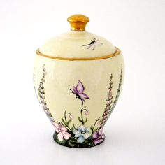 ... and a spot of jam?  Vintage Jam Pot with Butterflies and Flowers on Etsy, £28.50