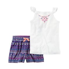 Baby Girl Carter's Necklace Graphic Tank Top & Geometric Shorts Set, White