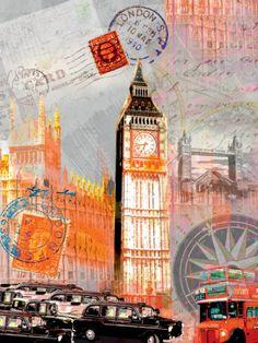 Art Print: London Vintage Art Print by Robin Jules by Robin Jules : Vintage London, Vintage Art Prints, Vintage Posters, Vintage Images, Retro Poster, Pop Culture Art, Collage, London Art, London Photos