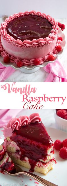 This Vanilla Raspberry Cake has moist and fluffy layers of vanilla cake. Between those layers is a vanilla buttercream with a raspberry sauce. Decorated with a raspberry and vanilla buttercream… Raspberry Desserts, Raspberry Cake, Raspberry Punch, Strawberry Cakes, Baking Recipes, Cake Recipes, Dessert Recipes, Dessert Ideas, Food Cakes