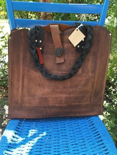 Distressed Brown Leather Tote Leather Braided by UrbanGuerrilla63