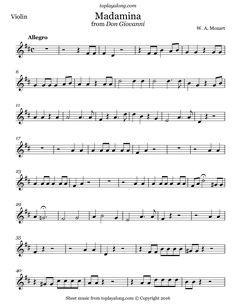 Madamina from Don Giovanni by Mozart. Free sheet music for violin. Visit toplayalong.com and get access to hundreds of scores for violin with backing tracks to playalong.