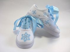 Girls Snowflake Shoes, Kid's Hand Painted Sneakers, Baby and Toddler, Blue and White Painted Canvas Shoes, Custom Painted Shoes, Painted Sneakers, Painted Clothes, Custom Shoes, Doll Shoes, Kid Shoes, Girls Shoes, Christmas Shoes