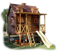 Outdoor play houses from Green House could become a cool find for families with children from 3 to 14 years.