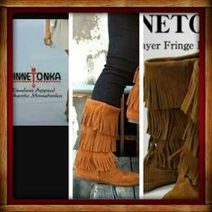 """BROWN MINNETONKA 3 LAYER  FRINGE BOOTS   (GREAT  TO EXCELLENT/ USED CONDITION ) THESE BOOTS ARE GENUINE LEATHER  3 LAYER  MINNETONKA BOOTS. HIT MID CALF. NO HOLES, RIPS , NO SALT OR STAINS. THE SOLES ARE ABIT WORN AS SEEN  IN PIC #3.  OTHER THAN THAT  THEY ARE IN  VERY GOOD SHAPE  & HAVE  ALOT OF LIFE LEFT IN THEM.  ❤""""""""""""PERFECT """"""""BOOTS""""""""❤FOR ALL OUTFITS!& YEAR ROUND WEAR.  THESE WILL COME CLEANED & WILL BE TREATED WITH LEATHER  PROTECTOR . AS WILL THE OTHER FRINGE  BOOTS I HAVE  IN MY…"""