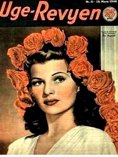 Rita Hayworth mag cover - from Denmark 1946.  First actress, popular person diagnosed with Alzheimer's disease.