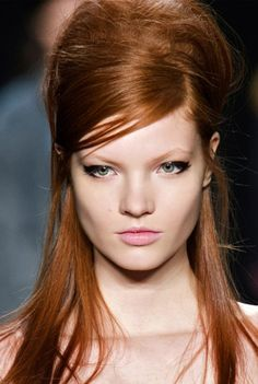Bouffant with side-swept bangs