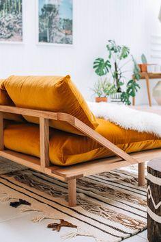 Pop & Scott Dream Couch in Gold Velvet  Image by Bobby + Tide