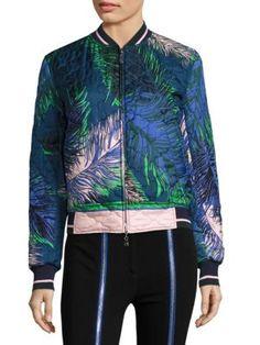 Woman Quilted Printed Silk Bomber Jacket Blue, Blu/Verde