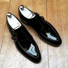 Black Color Genuine Leather Monk Double Buckle Strap Plain Cap Toe Shoes for Men - Dress/Formal