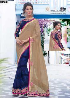 Shop Online Beige & Blue Saree On Cash On Delivery Below 5500 – Banglewale International
