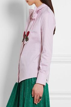 Gucci - Embroidered Pussy-bow Cotton Blouse - Pink - IT46