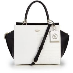 Guess Casey Tote Bag (9,345 PHP) ❤ liked on Polyvore featuring bags, handbags, tote bags, guess tote bags, alligator handbag, imitation purses, wing tote and white handbags