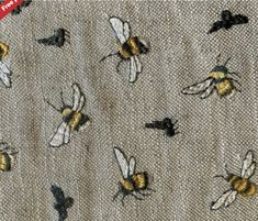 Voyage Decoration NEW Bumble Bee Birch embroidered fabric suitable for curtains, blinds and soft furnishings. Suggested Uses - Curtains, Blinds & Soft Furnishings. Bee Embroidery, Cross Stitch Embroidery, Embroidery Patterns, Voyage Fabric, Learning To Embroider, Bee Fabric, Sewing Art, Brocade Fabric, Curtains With Blinds