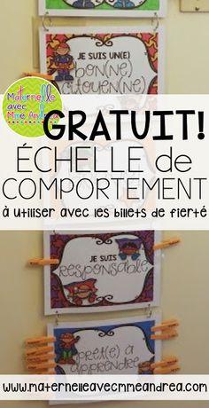 Échelle de comportement GRATUITE | Billets de fierté |French brag tags |Free French clip chart