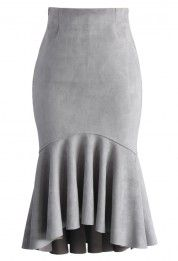 Sassy Suede Frill Hem Skirt in Grey