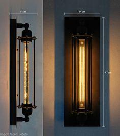 Vintage industrial Pencil cage loft Sconce Edison wall light Bulb Warehouse | eBay