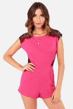 Outlace-t the Competition Fuchsia Lace Romper at LuLus.com!