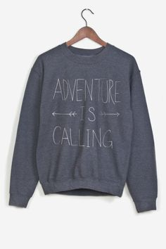 Grey sweatshirt hand-printed. American cut, crew neck, fitted shoulders and sleeves, ribbed trim and tightening at wrists. Ultra soft and comfortable inside.   Adventure is Calling by Leah Flores for Rad.