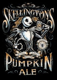 Artwork collaboration between artists JP Perez and Barrett Biggers ( KoLabs Studios ) of a Nightmare Before Xmas inspired parody beer pumpkin ale label design of Skellingtons Pumpkin Craft Ale. Halloween Designs, Halloween Tags, Casa Halloween, Halloween Crafts, Halloween Decorations, Halloween Skull, Halloween Artwork, Halloween Inspo, Halloween Prop