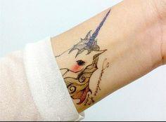Colorful tattoo cute unicorn design temporary tattoo by nicecoco, $5.45