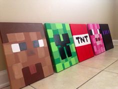Minecraft Paintings. Hand painted Minecraft Art. Custom Minecraft Art. Personalized Minecraft Art. Minecraft Decor. Playroom Art. Boys' Room Art. Kid's Room Art.   You choose the characters and you can personalize TNT with your child's initials! Hand painted. on Etsy unofficial Minecraft. Etsy.com/shop/DesignsbyElleBelle
