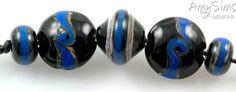 Handmade Lampwork Beads Wedgewood Blue & Black by AmySimsDesigns