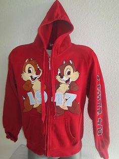 Womens Hoodie Chip and Dale size xl color red by disney Free shipping .