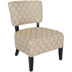 Jolie Yellow Diamond Armless Accent Chair 1K1-403