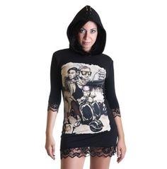 Still Alive Hoodie Dress Black Lace Zombie Horror Punk Rock Black Lace