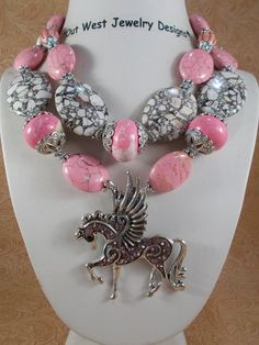 Cowgirl Necklace Set - Chunky Pink Howlite Turquoise - Crystal Pegasus Pendant