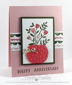 3 Number of Years Birthday Card Flowers in Vase Occasions Catalog #stampinup www.stampstodiefor.com