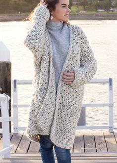 Ravelry: Coastal Fog Chunky Cardigan pattern by Olivia Kent Black Crochet Dress, Crochet Coat, Crochet Cardigan Pattern, Crochet Jacket, Crochet Shawl, Crochet Clothes, Crochet Sweaters, Crochet Granny, Crochet Motifs
